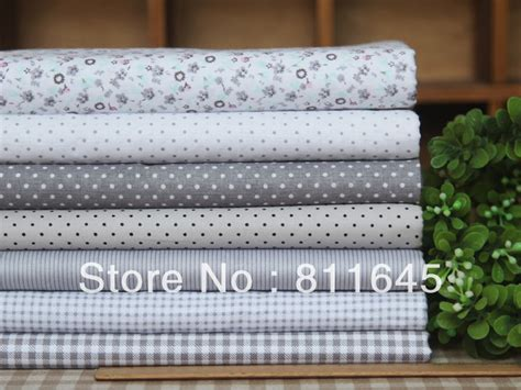 Patchwork Quilt Fabric Bundles - free shipping 7 assorted prints 20x30cm grey quilt