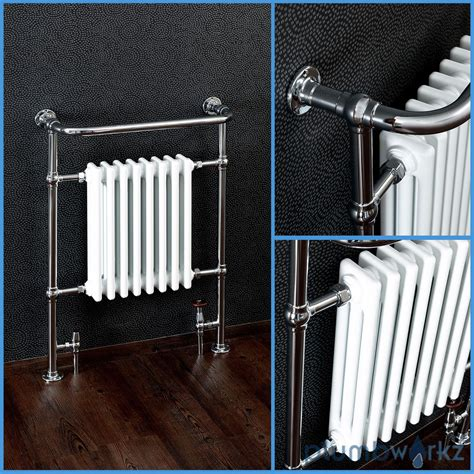 traditional heated towel rails for bathrooms traditional victorian chrome heated bathroom towel rail radiators valves ebay