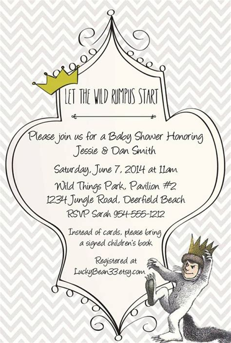 Where The Things Are Birthday Invitation Template Where The Wild Things Are Invitation Template Www Luckybean33 Etsy Com Lucky Bean Pinterest