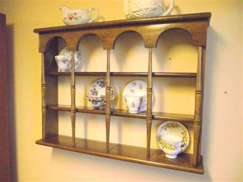 wood 3 tier display teacup saucer curio wall shelf with