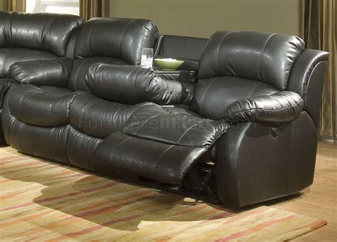transitional black transitional black bonded leather sectional w recliner