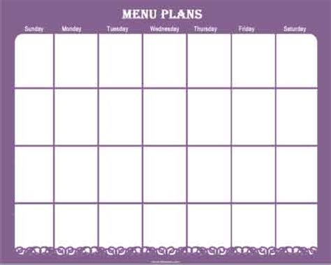 printable dinner meal planner template for month