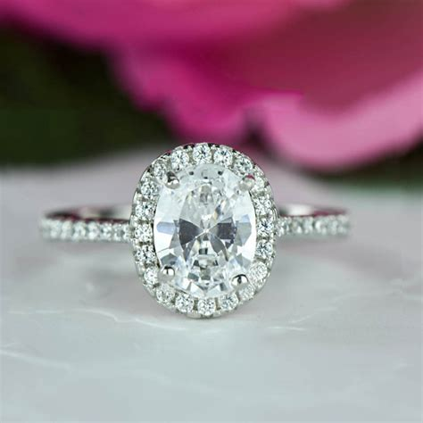 1 5 ctw classic oval halo engagement ring halo wedding ring