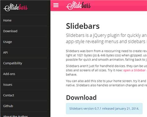 slidebars mobile app style revealing menus and sidebars