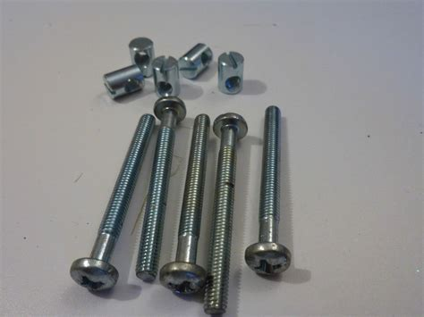 Ikea Bed Frame Screws 5 Furniture Bolts And Barrel Nuts Cot Bed Ikea Mfi 6mm X 60mm Metric Screws Ebay