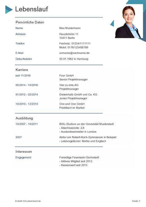 Lebenslauf Deutschland Muster by Lebenslauf Vorlagen Muster Kostenloser Als Pdf