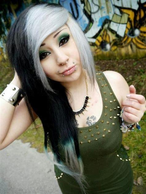 emo hairstyles black and white black and white emo hair emo scene hair pinterest
