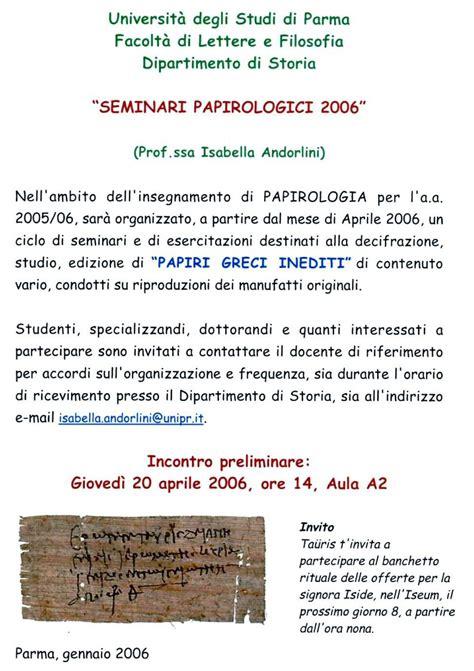 laurea in lettere on line corso di papirologia unipr seminario fasi di ricerca
