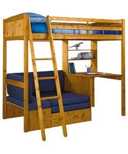 classic high sleeper with sofa bed classic high sleeper with blue sofa bed frame pine