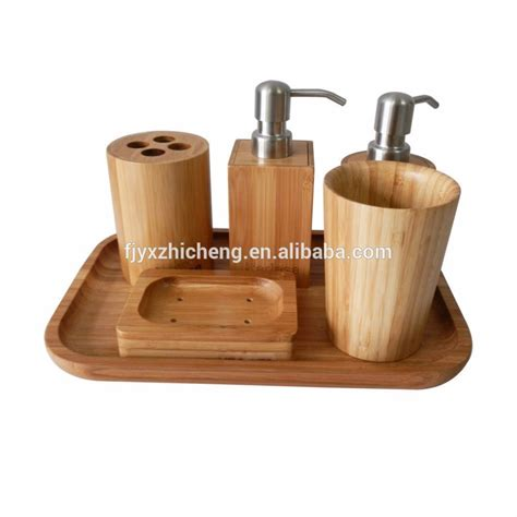 Modern Bamboo Bathroom Accessories Supply Modern 6pcs Bamboo Shape Bathroom Set