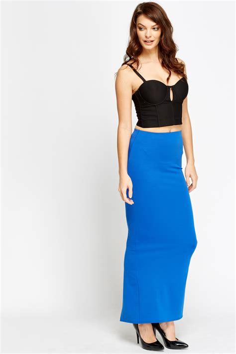 slit back midi skirt royal blue just 163 5