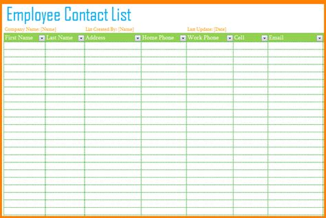 phone list template employee contact list template