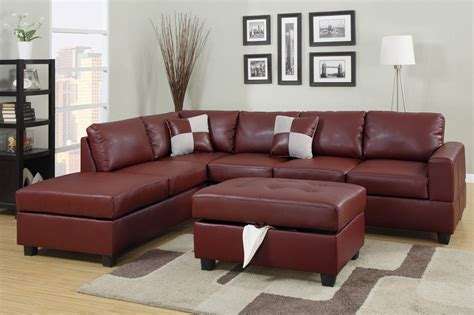leather sectional sofa with ottoman poundex april f7390 red leather sectional sofa and ottoman
