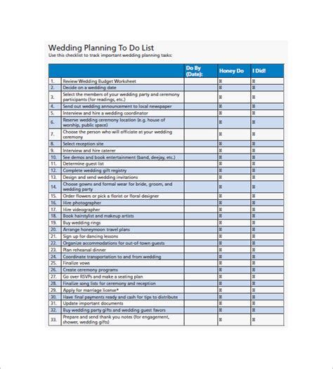 Ee  Wedding Ee   To Do List  Free Sample Example Format