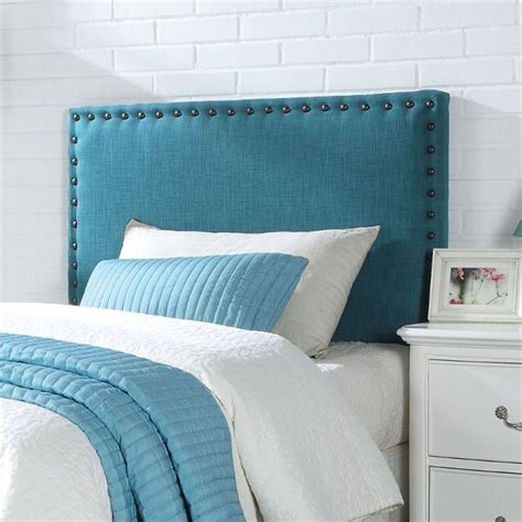 blue twin headboard acme furniture sabina linen twin headboard in blue 39116