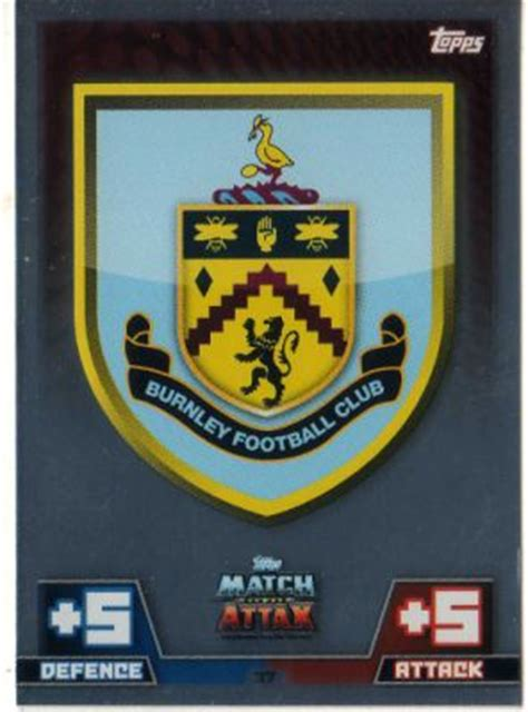 Soccer Card Topps Logo Teams Premier League Harga 1 Kartu burnley club logo 37 topps match attax 2014 2015