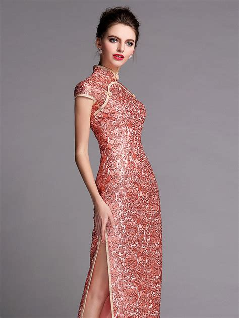 Wedding Qipao by Mandarin Collar Cap Sleeve Gold Sequins Wedding