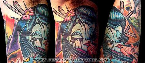 geisha tattoo new school ghostprint gallery tattoos color geisha