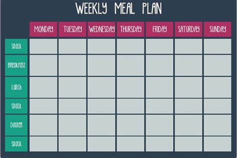 weekly recipe planner template meal plan templates free