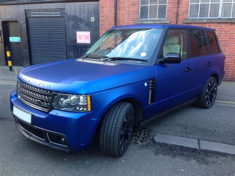 wrapped range rover matte metallic blue range rover
