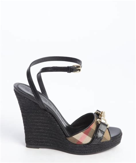 burberry wedge sandals lyst burberry black leather check canvas buckle