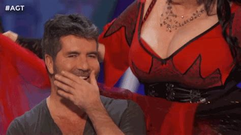 very hot funny gif simon cowell lol gif by america s got talent find