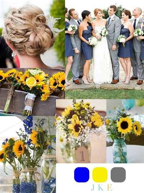 august wedding colors sunflower themed weddings yellow blue sunflower