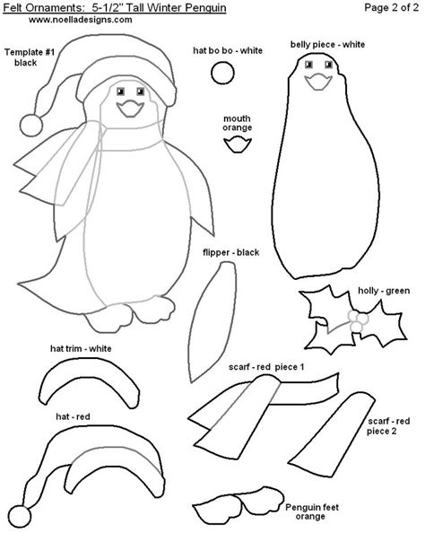felt penguin ornament pattern printables christmas