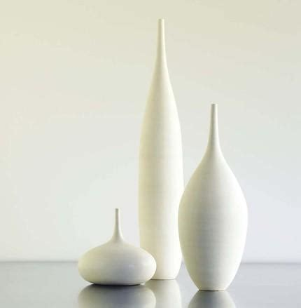 large white modern ceramic bottle vase trio by by