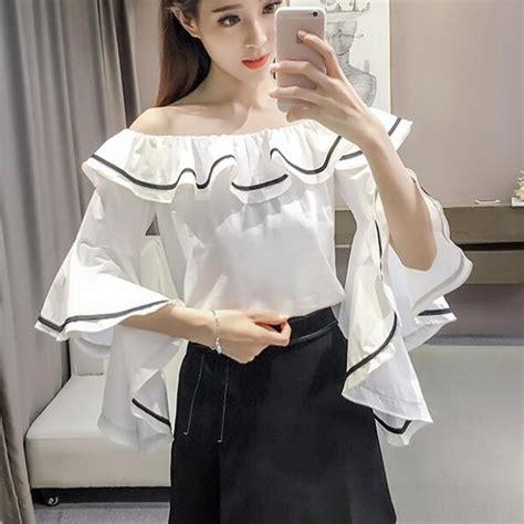 boat neck girl wholesale boat neck ruffle blouse for girls ypj031668