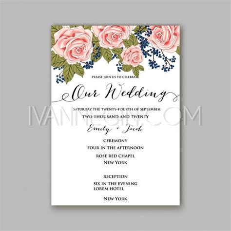 printable invitation cards for wedding rose wedding invitation card printable template in