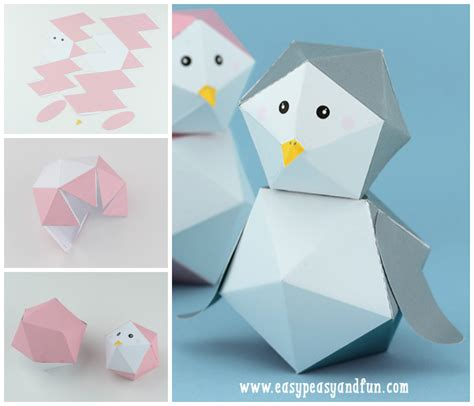 Paper Toys Origami - 3d penguin paper free printable paper toys penguins