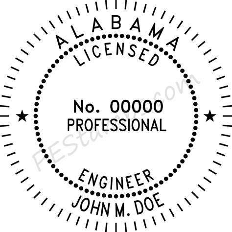 alabama professional engineer stamp pe stamps