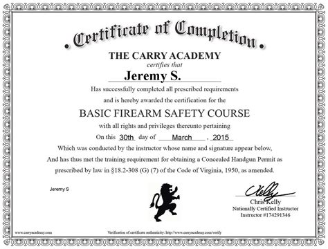 Review The Carry Academy S Online Ccw Safety Course The Truth About Guns Ccw Certificate Templates