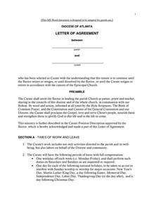 Letter Of Agreement Template Free by Free Printable Letter Of Agreement Form Generic