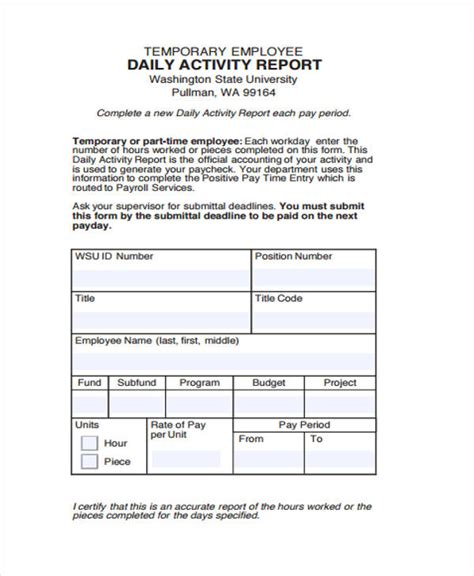 12 Sle Activity Reports Pdf Word Pages Daily Activity Report Template