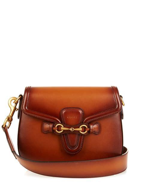 lyst gucci web medium leather shoulder bag in brown