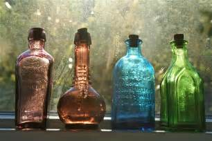 antique colored glass vintage colored glass potion medicine bottles