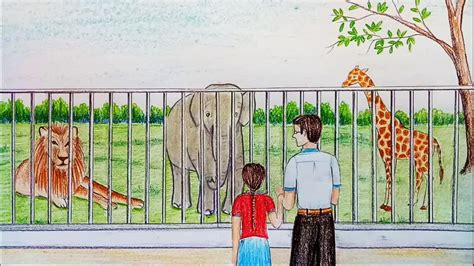 Drawing Zoo by Pencil Drawing Of Zoo How To Draw Zoo Step By Step