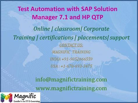 sap testing tutorial ppt test automation with sap solution manager 7 1 and hp qtp