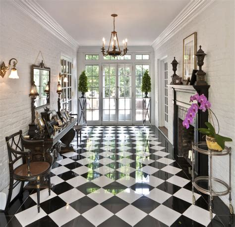black and white marble floor Entry Traditional with black
