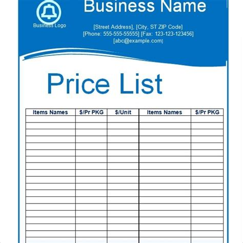 price list template word targer golden dragon co
