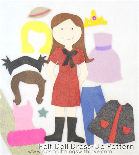felt dress up doll template felt doll dress up pattern do small things with great