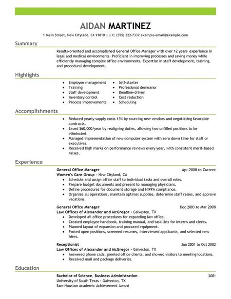office manager resume sles general manager resume exles free to try today myperfectresume