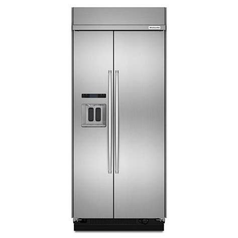 kitchenaid 36 in w 24 8 cu ft side by side refrigerator