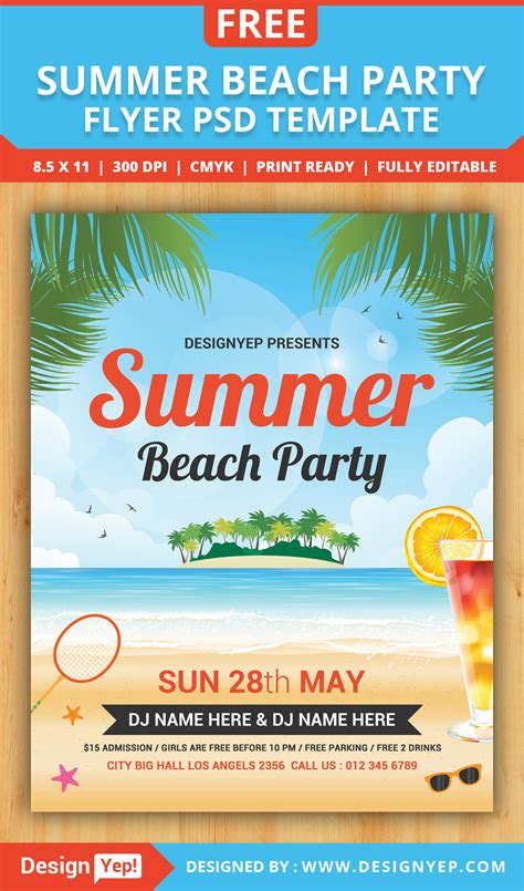 free summer beach party flyer psd template designyep