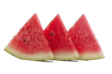 Pieces Of Three three pieces of watermelon isolated white stock