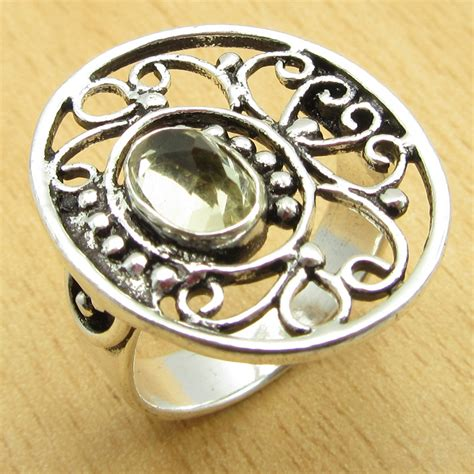 ring for spouse citrine silver plated jewelry size us 8