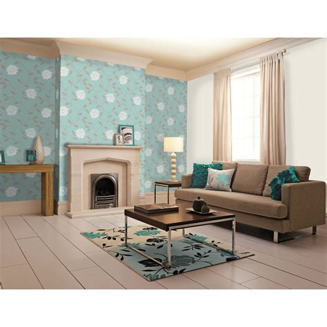Living Room Duck Egg Blue by Dulux Camille Duck Egg Wallpaper 10m Roll Next Day