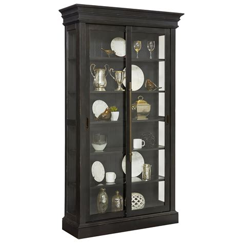 furniture curio cabinet pulaski furniture curios sliding door curio in charcoal